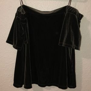 Dark green off the shoulders blouse